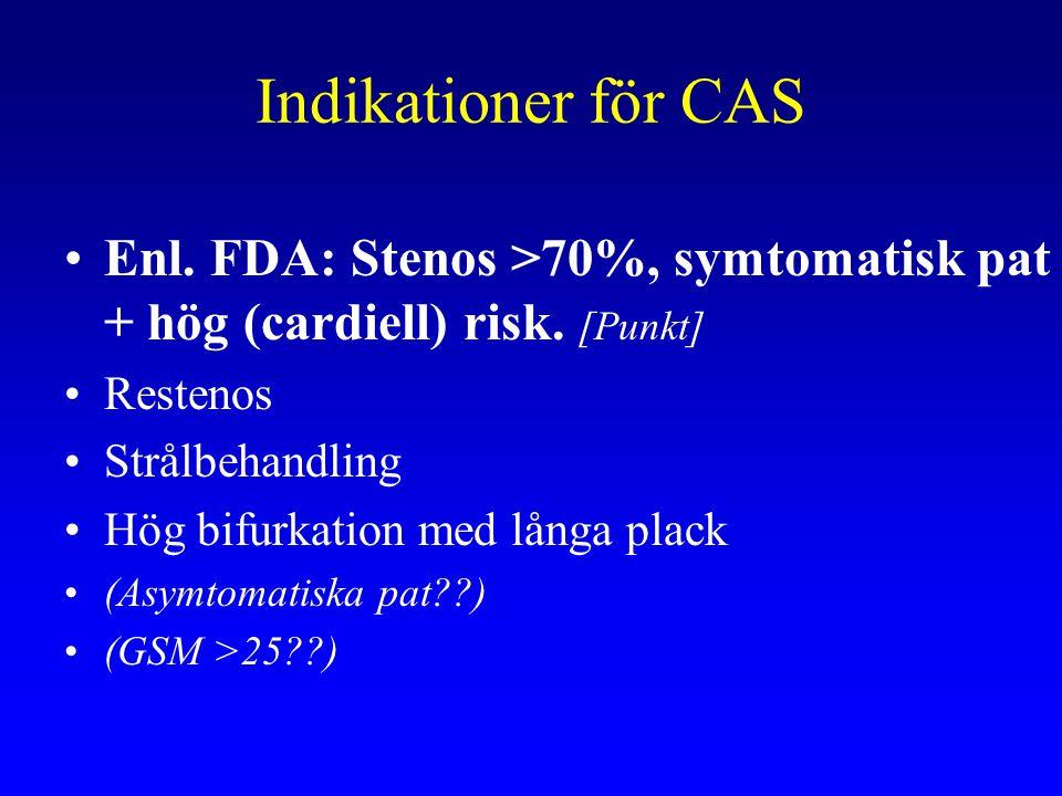 Indikationer för CAS Enl. FDA: Stenos >70%, symtomatisk pat + hög (cardiell) risk. [Punkt] Restenos.